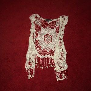 Jackets & Blazers - Crochet White Cardigan